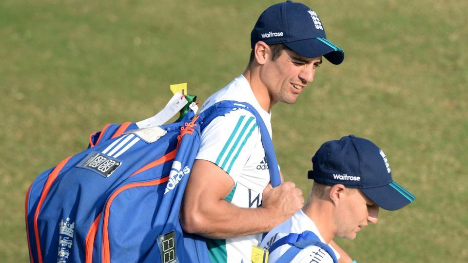 England's captain Alastair Cook (left) and teammate Joe Root arrive for a training session in Mumbai. The fourth India vs England Test will be played at the Wankhede Stadium from Thursday.