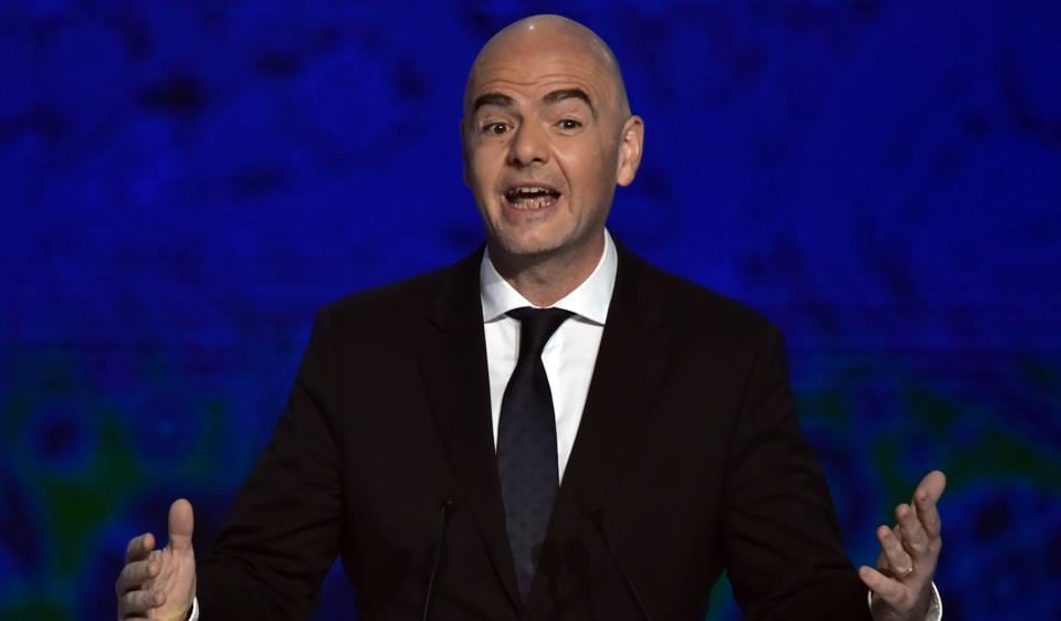 Fifa president Gianni Infantino gives a speech ahead of the draw for the 2017 Fifa Confederations Cup.