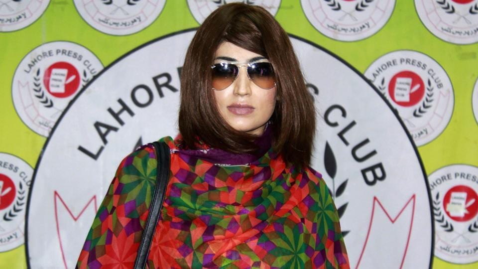 This file photo taken on June 28, 2016 shows Pakistani social media celebrity Qandeel Baloch arriving for a press conference in Lahore.