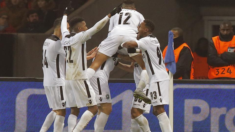 ILudogorets players celebrate Wanderson's goal during their Champions League Group A match against Paris Saint-Germain at the Parc des Princes stadium. In a surprise result, Ludgorets held PSG to a 2-2 draw, which meant the French side advanced to the next stage as runners-up to Arsenal in Group A. (AP)