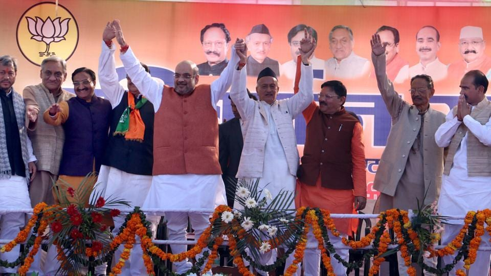 BJP national president Amit Shah with other BJP leaders during Parivartan rally at MB Inter College in Haldwani on Wednesday.