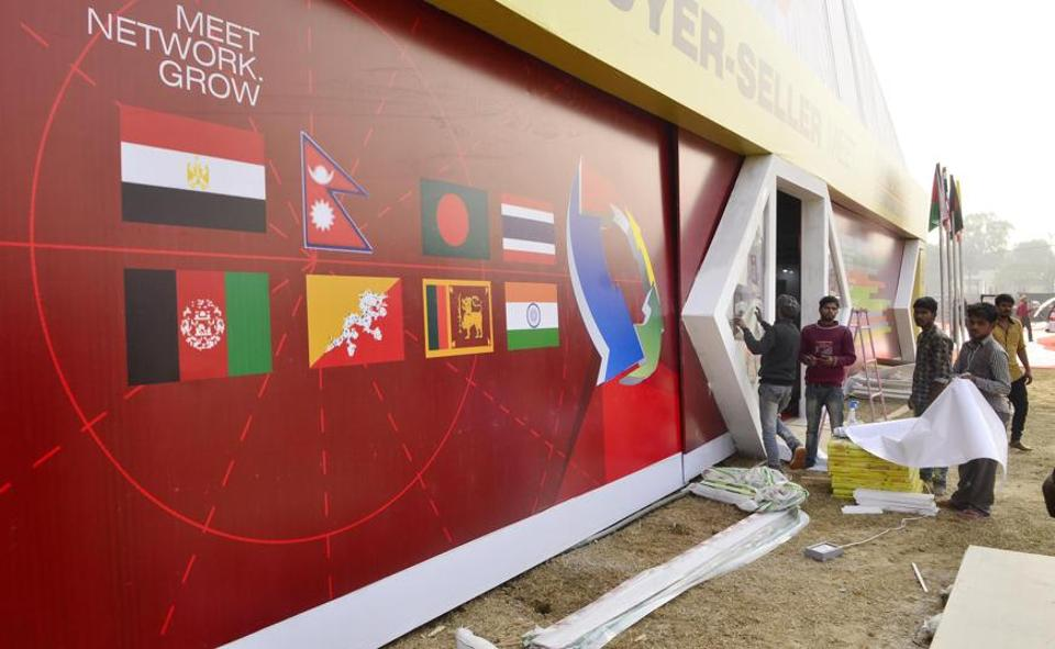 Work in progress for the Punjab International Trade Expo or PITEX that kicks off from December 8 at Ranjit Avenue, Amritsar. (Sameer Sehgal/HT)