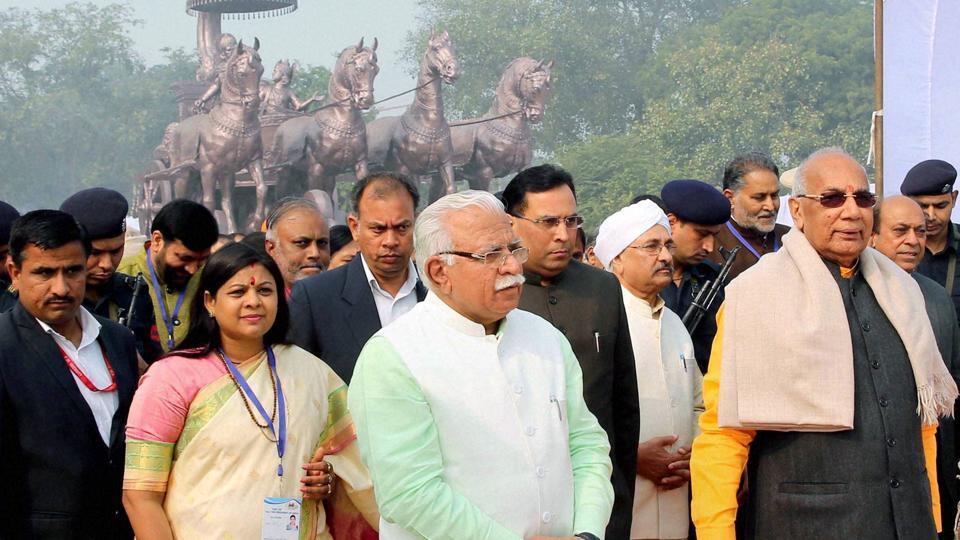 From right: Haryana governor Kaptan Singh Solanki and CM Manohar Lal Khatta at the Gita Mahotsav in Kurukshetra on Tuesday.