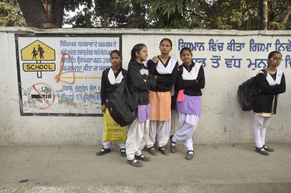 Government school students in Jalandhar on Tuesday.