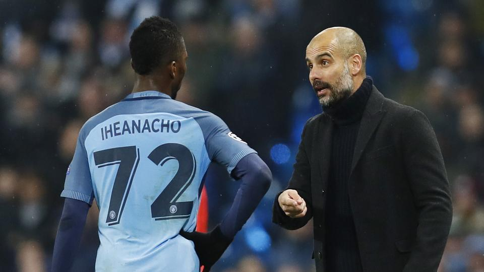 Manchester City manager Pep Guardiola instructs Kelechi Iheanacho during the Champions League match against Celtic on Tuesday.