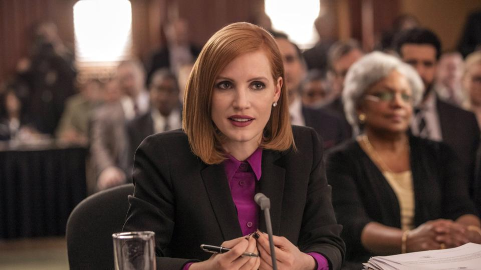 Jessica Chastain  in a still from Miss. Sloane.