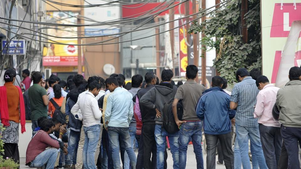 A long queue in front of an ATM after demonetisation, in Noida.
