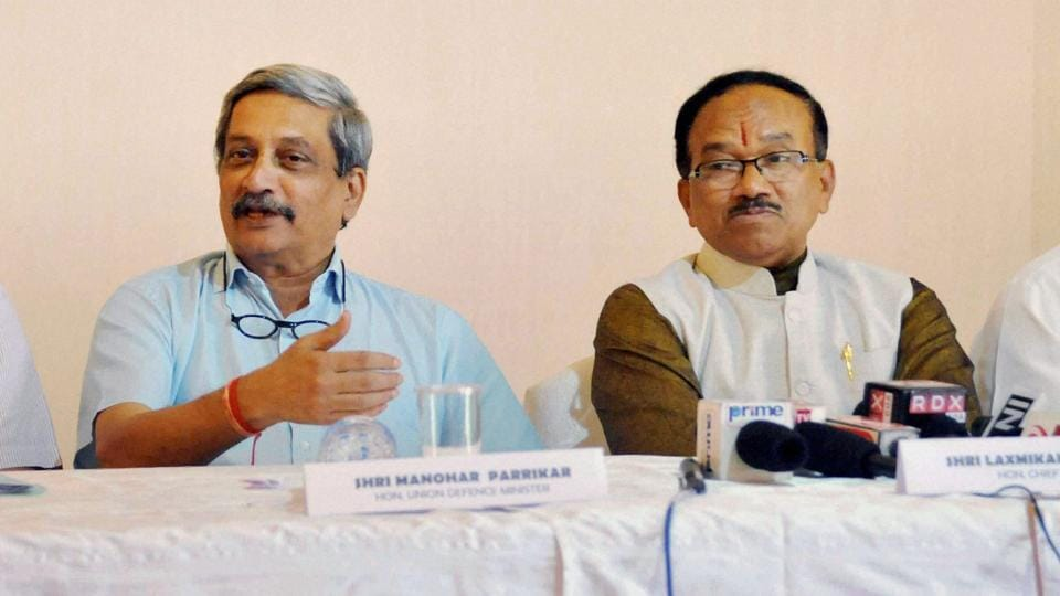 Defence minister Manohar Parrikar and Goa chief minister Laxmikant Parsekar address the press conference in Panaji.