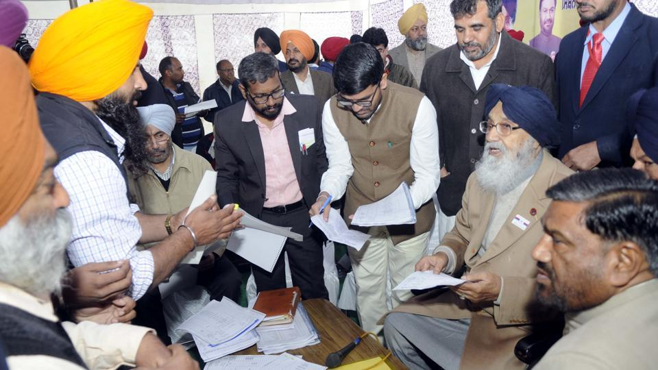 CM Badal at Tohra village in Patiala district on Wednesday.