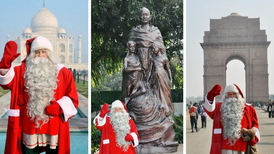 Santa Claus poses in front of Taj Mahal, Gandhi Smriti and India Gate respectively. (PTI)
