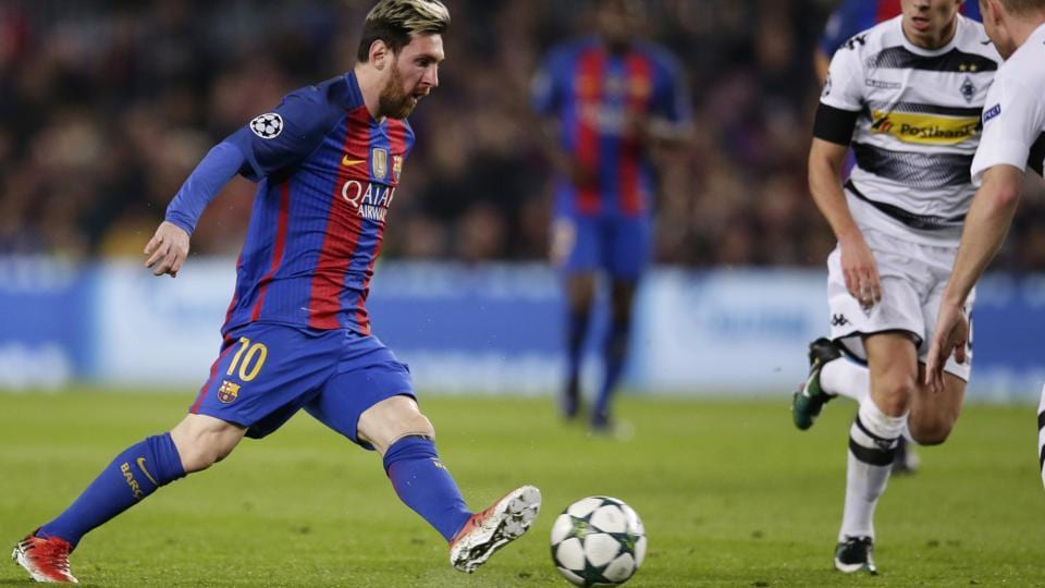 Lionel Messi opened the scoring for FC Barcelona against Borussia Moenchengladbach at the Camp Nou during their Group C Champions League match on Tuesday. It was Messi's 10th goal in this season's group stage.  (AP)