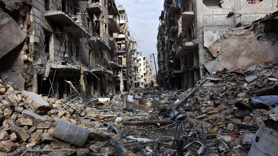 A general view shows destruction in the al-Shaar neighbourhood after government forces took control of the area in the eastern part of the northern city of Aleppo.
