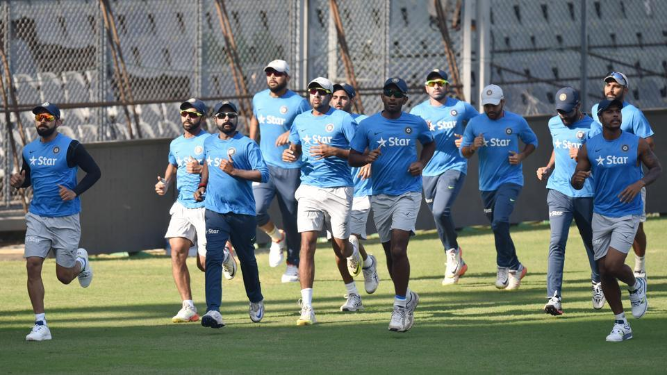 Indian players practice ahead of the fourth Test match against England in Mumbai. (Pratham Gokhale/HT PHOTO)