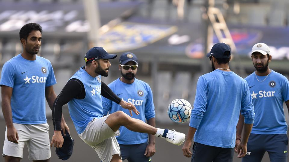 Players during the practice session of Indian cricket team ahead of a match against England at Wankhede Stadium. (Pratham Gokhale/HT PHOTO)