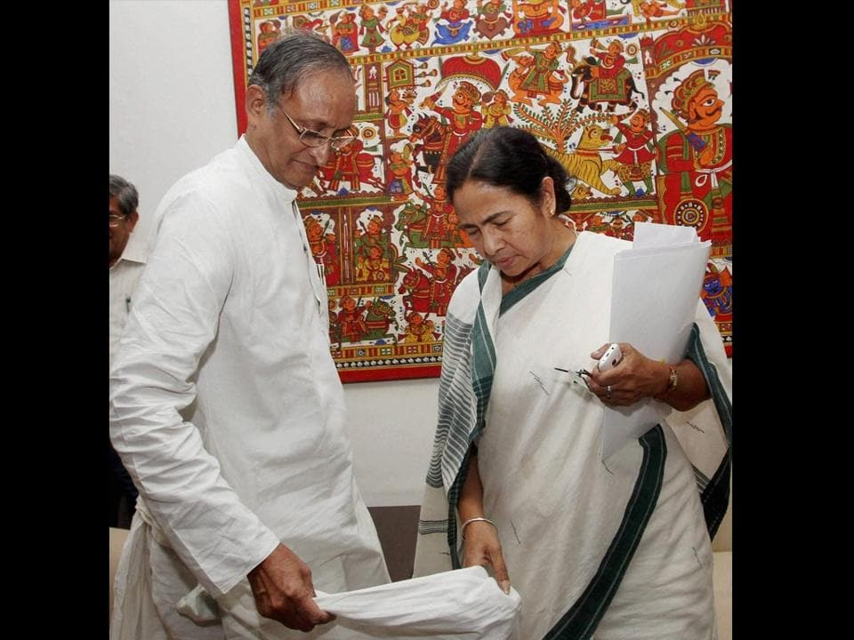 West Bengal finance minister Dr Amit Mitra  with chief minister Mamata Banerjee.