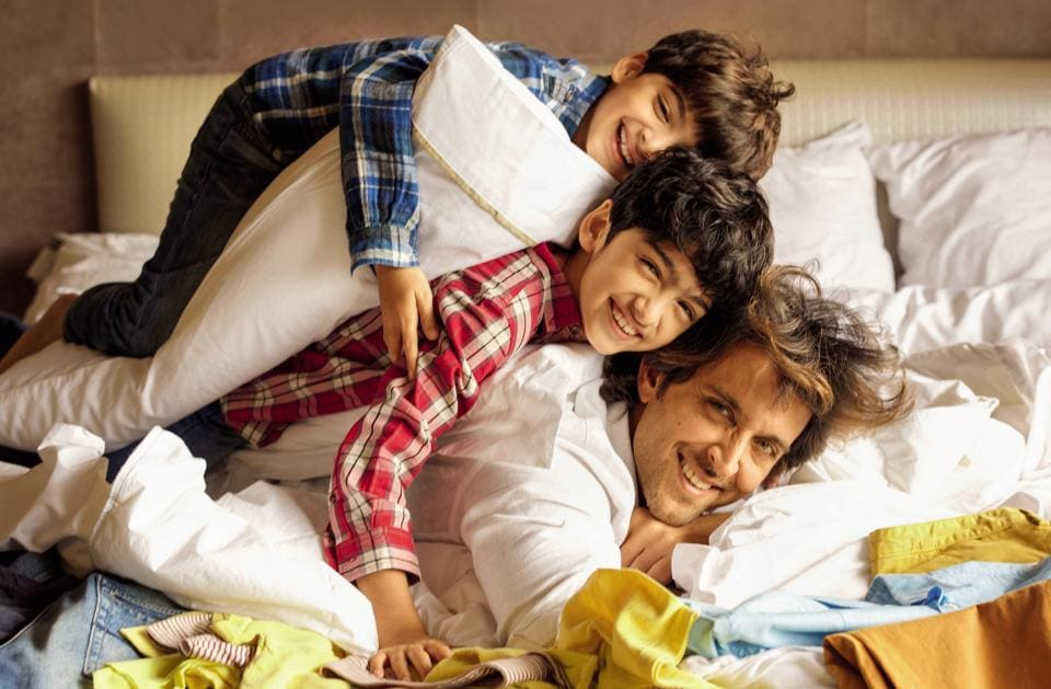 Bollywood star Hrithik Roshan with his sons Hrehaan and Hridaan Roshan