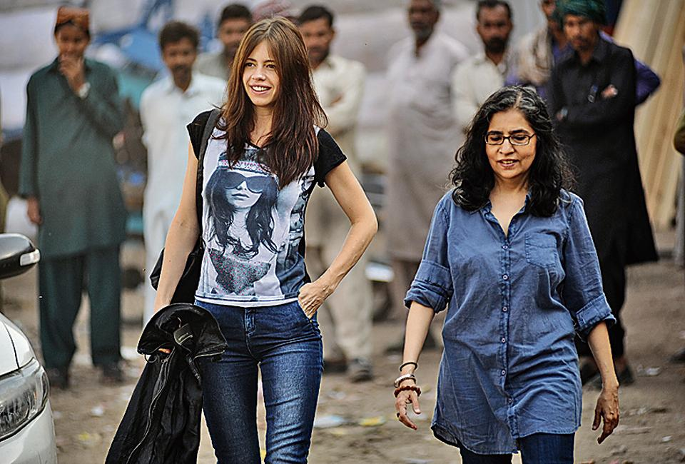 'The context in which we know India and Pakistan is always conflict and divide. We specifically wanted to look away from that and see the two countries just as they are,' says Kalki Koechlin, seen here with Sahiba Sumar.