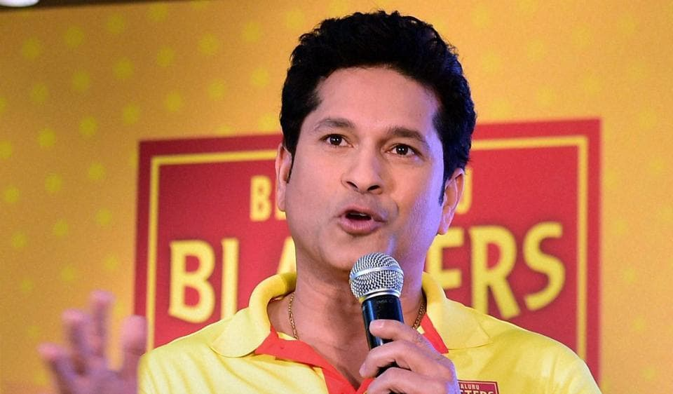 Sachin Tendulkar speaks at an event to launch his team Bengaluru Blasters in Bengaluru.