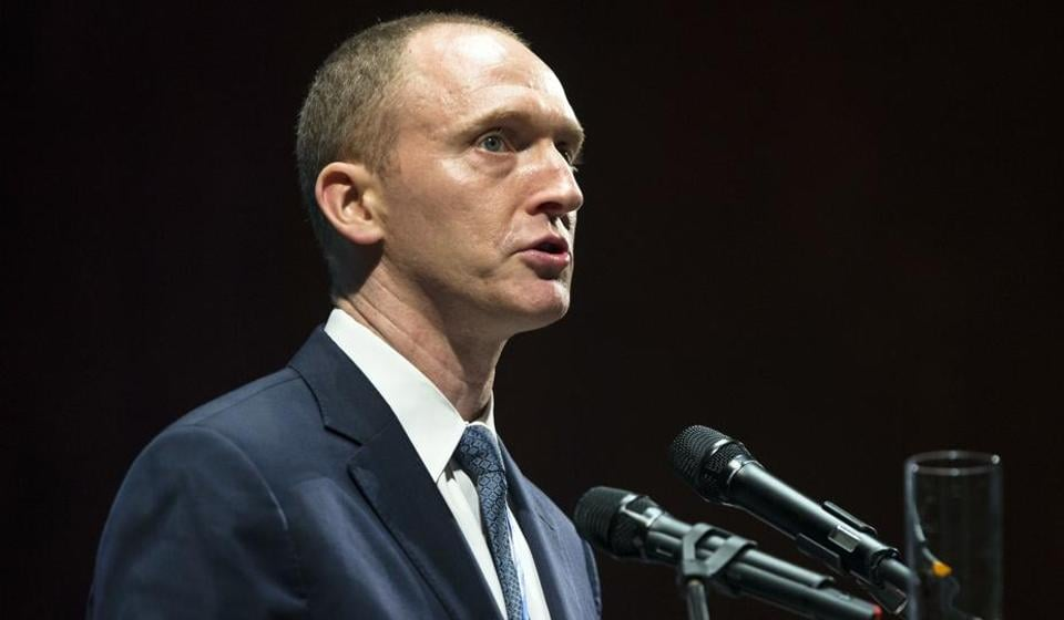 In this July 8 photo, Carter Page, then adviser to US Republican presidential candidate Donald Trump, speaks at the graduation ceremony for the New Economic School in Moscow, Russia.