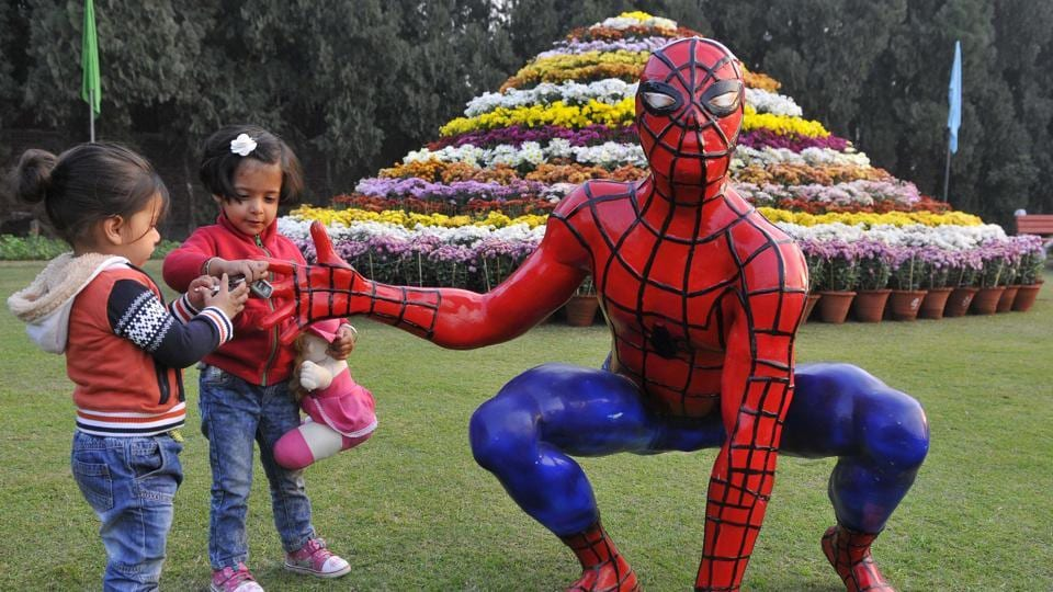 A Spider-Man statue on the eve of the annual Chrysanthemum Show in Sector 33, Chandigarh, on Thursday. The show is from December 9 to 11. (Keshav Singh/HT)