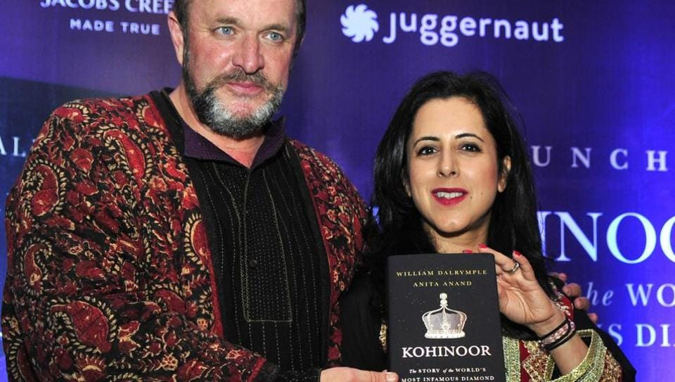 William Dalrymple and Anita Anand with their book 'Kohinoor: The Story of the Most Infamous Diamond' at its launch in Chandigarh on Thursday.