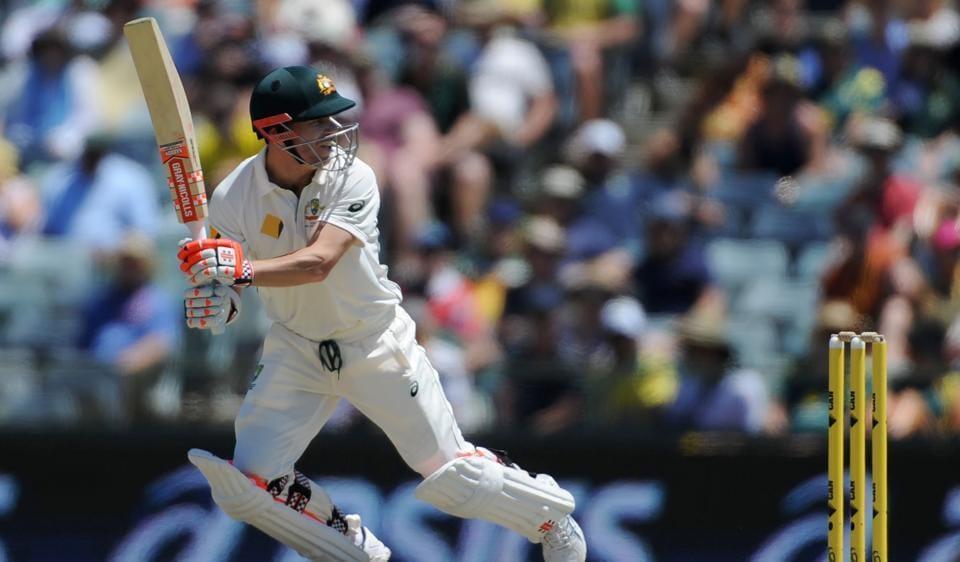 Australia's David Warner plays a shot against South Africa in Perth.