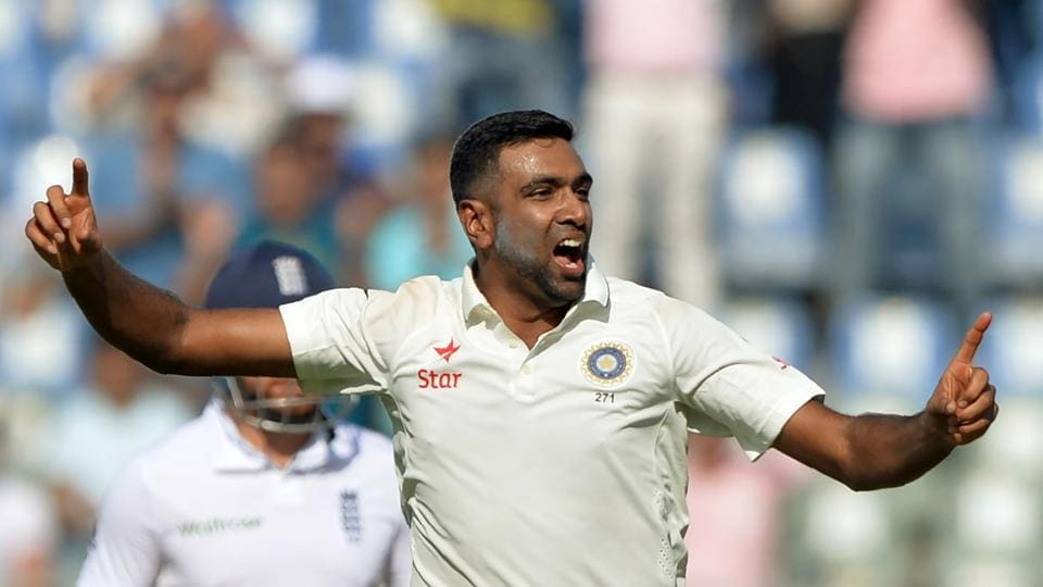 India's Ravichandran Ashwin celebrates after the dismissal of England's Keaton Jennings on the first day of fourth Test at the Wankhede stadium in Mumbai on Thursday.