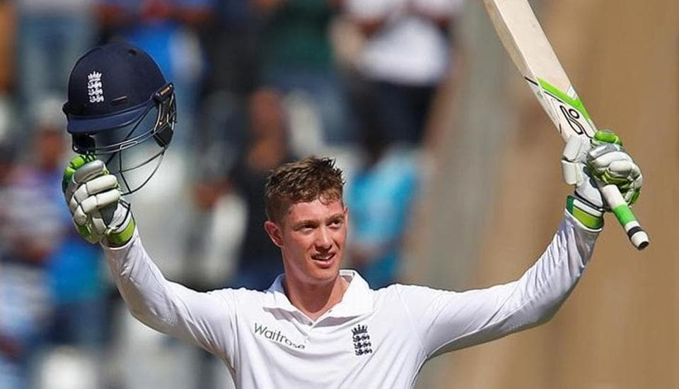 England's Keaton Jennings celebrates his century against India in Mumbai.