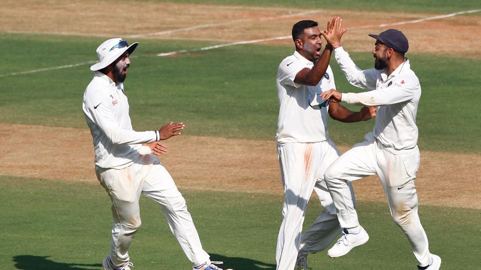 KL Rahul, Ravichandran Ashwin and skipper Virat Kohli celebrate the fall of Jonny Bairstow's wicket on Thursday. (BCCI)