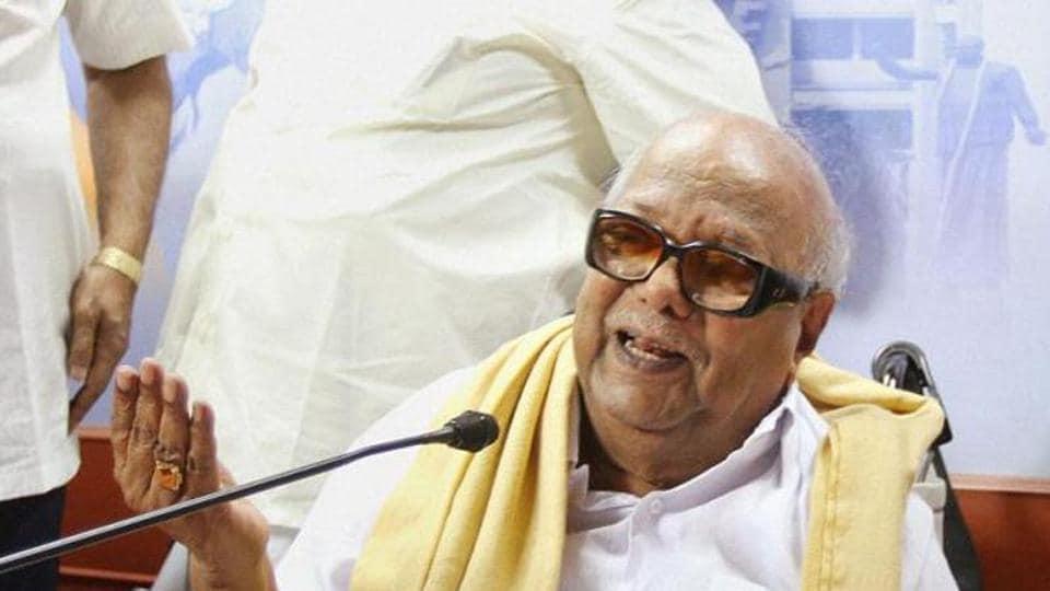 DMK chief M Karunanidhi addresses at a press conference in Chennai.