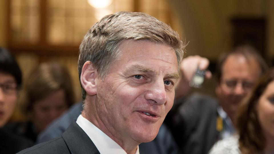 Bill English speaking to the media during a press conference at Parliament in Wellington.