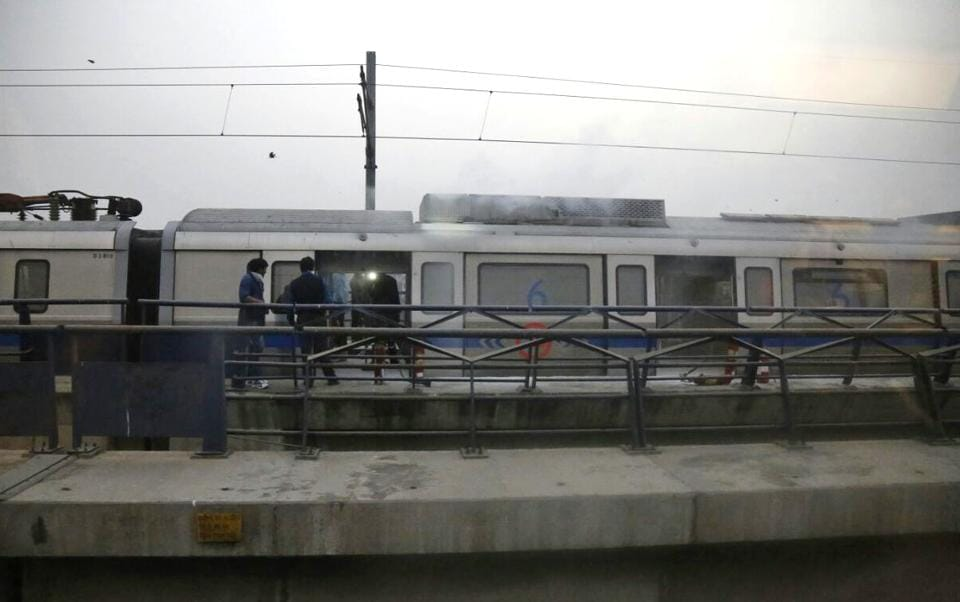 AMetro coach that caught fire at Patel Nagar Metro station on Thursday evening. It was the last bogey of the six-coach train that was headed to Vaishali on the Blue Line.