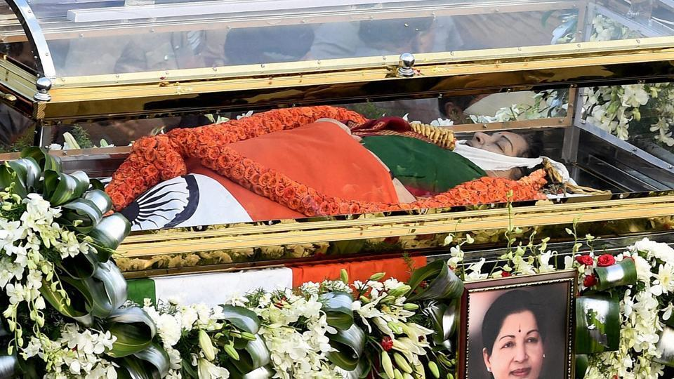 Tamil Nadu's former chief minister J Jayalalithaa's body being carried during the funeral procession in Chennai onDecember 6, 2016.