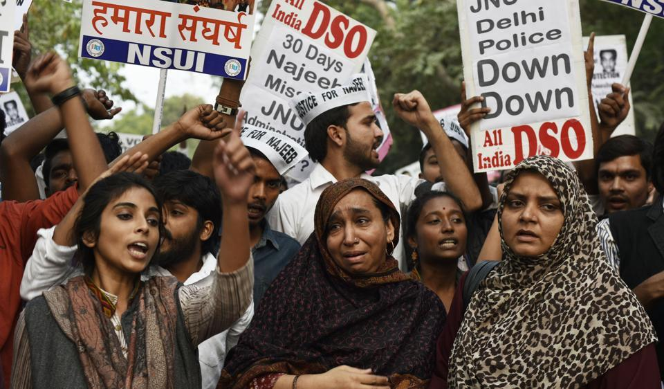 Missing JNU student Najeeb Ahmed's family at a protest, demanding police action. Najeeb has been missing for over 50 days after an alleged scuffle at the university with some members of ABVP.