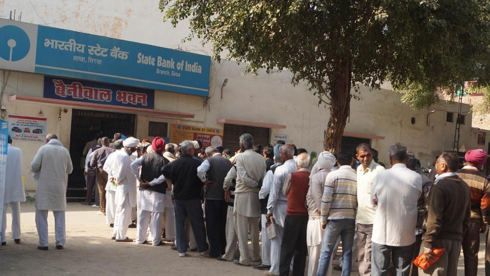Long queue in front of banks and ATM in Sirsa, Haryana.