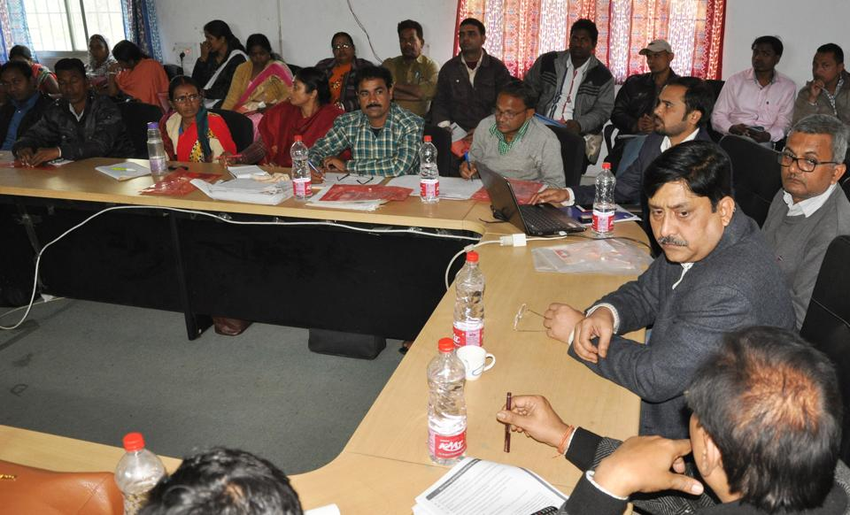 Dr NN Pathak nodal officer for NCD programme( sitting third from right) chairing an orientation meeting in Dhanbad on Thursday .