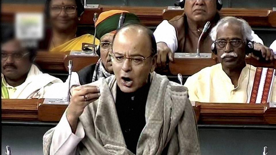 Finance minister Arun Jaitley speaks in the Lok Sabha in New Delhi on Thursday.