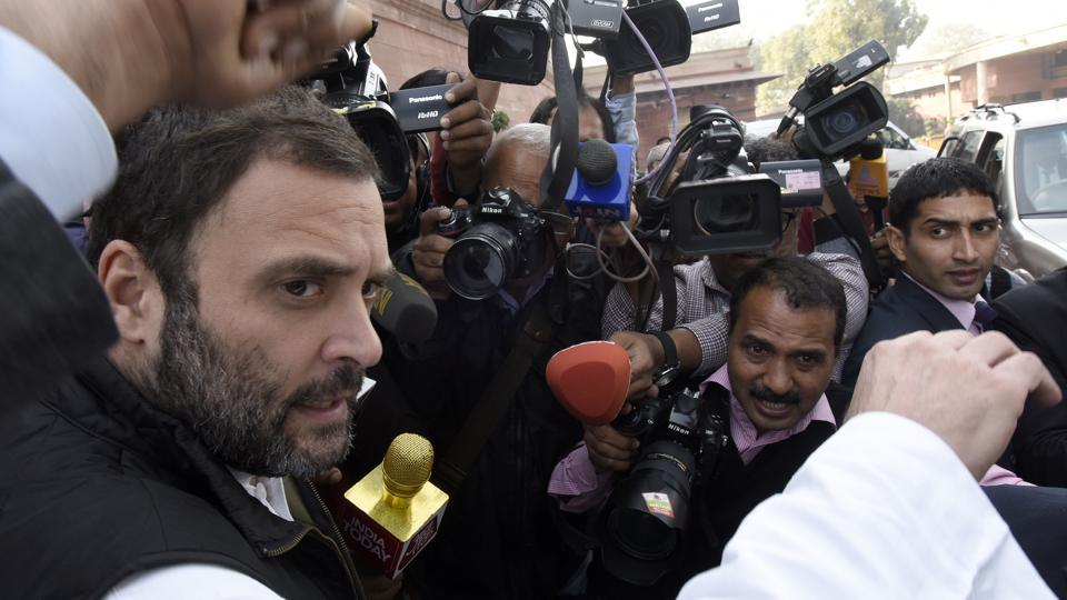 Congress vice-president Rahul Gandhi after attending a Parliament session in new Delhi.