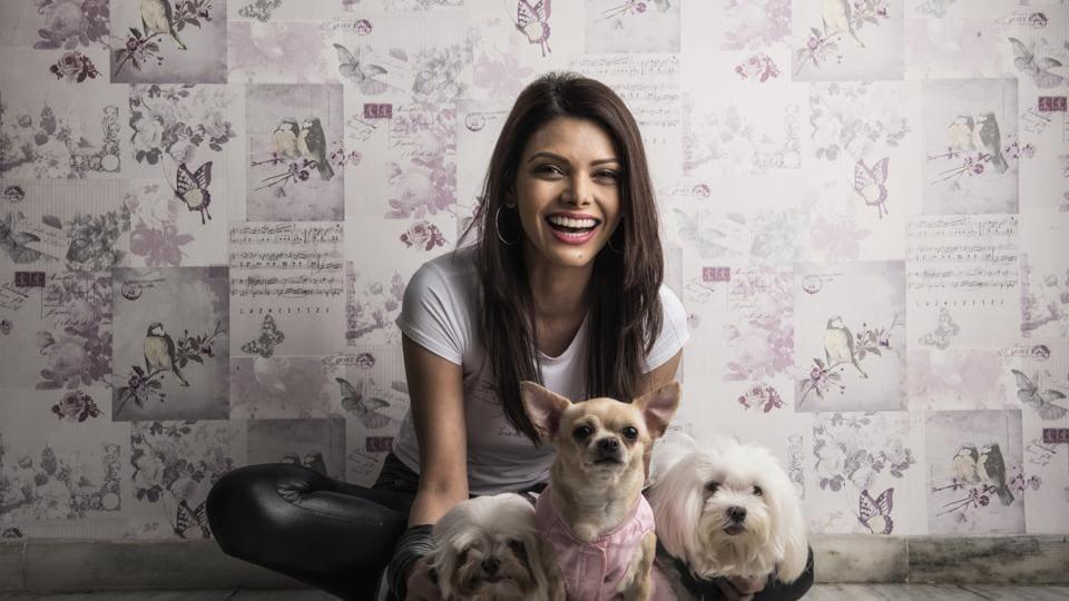 Sherlyn Chopra at her apartment in Juhu