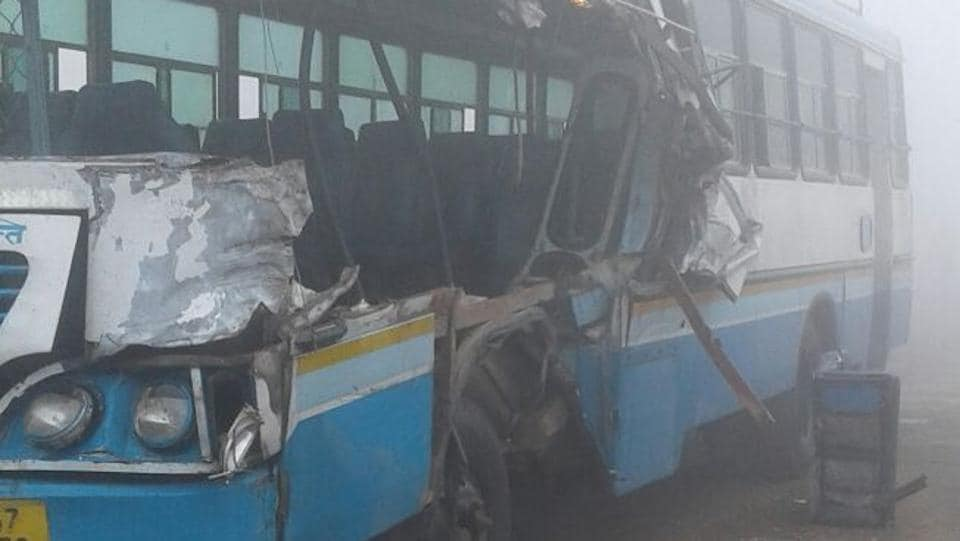 Haryana roadways bus that met with an accident in Sirsa.