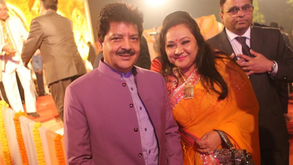 Singer Udit Narayan with wife Deepa was also present at the function (Manoj Verma/HT Photo)