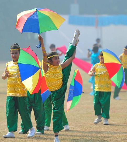 Kids performing at a school function in Sector 46, Chandigarh, on Friday, December 9. (HT Photo)