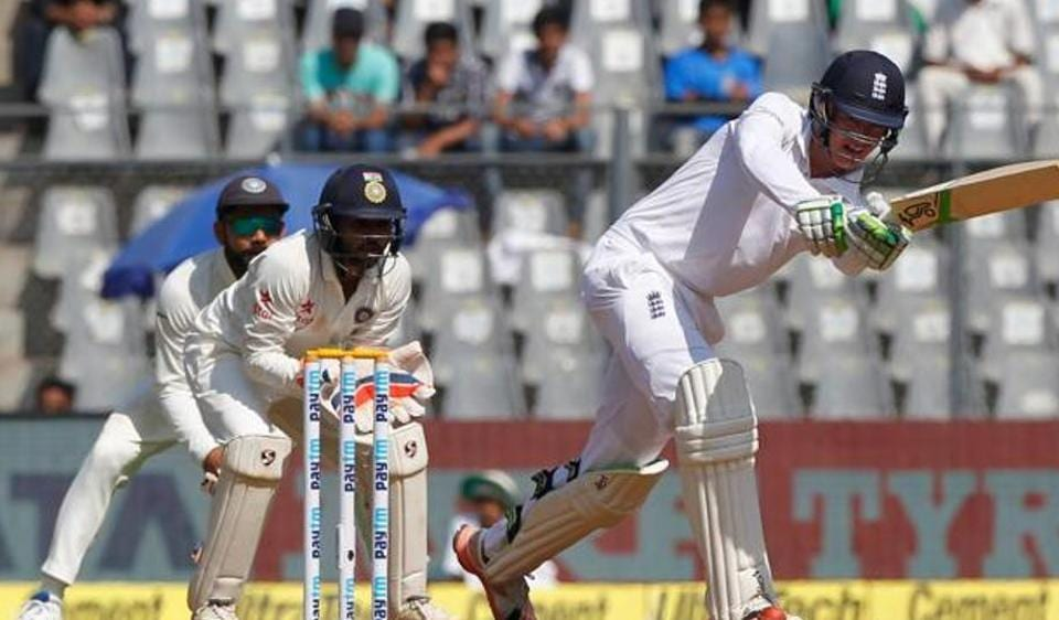 Keaton Jennings scores a century in his debut Test match in Wankhede stadium on Thursday.