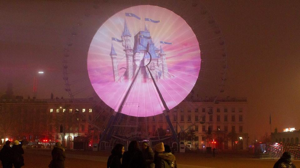 View of Un Songe Forain installation by artist Nathanaelle Picot at Place Bellecourt. (REUTERS)