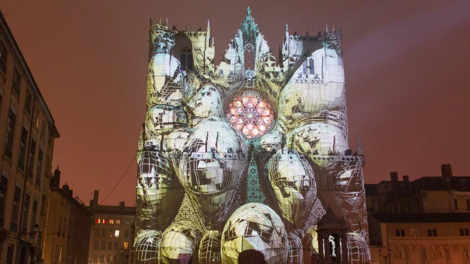 Artist Yann Nguema's third installation  at the Saint-Jean Cathedral. (REUTERS)