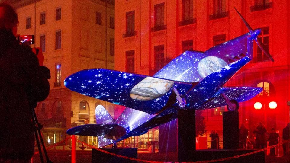 Seen here, View of Vols de Nuit installation by artist Thierry Chenavaud. (REUTERS)