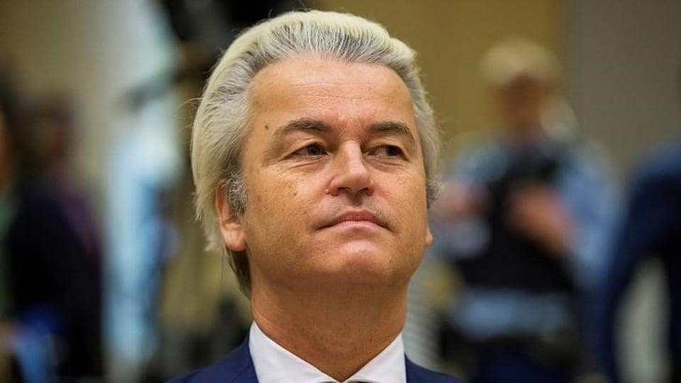 File photo of Dutch far-right Party for Freedom leader Geert Wilders in a courtroom in Schiphol, Netherlands, on March 18, 2016.