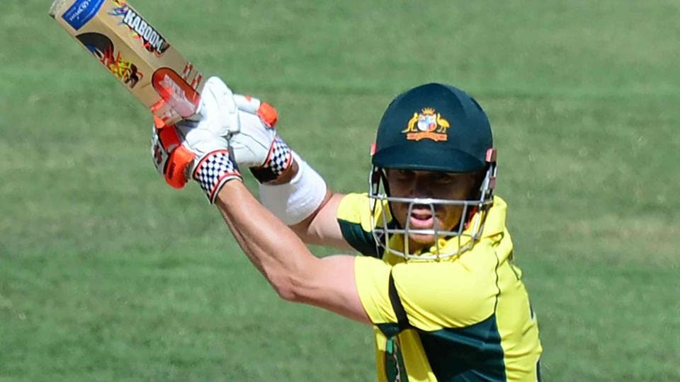 Australia's David Warner during the century knock in the third ODIagainst New Zealand at the MCG in Melbourne on Friday.