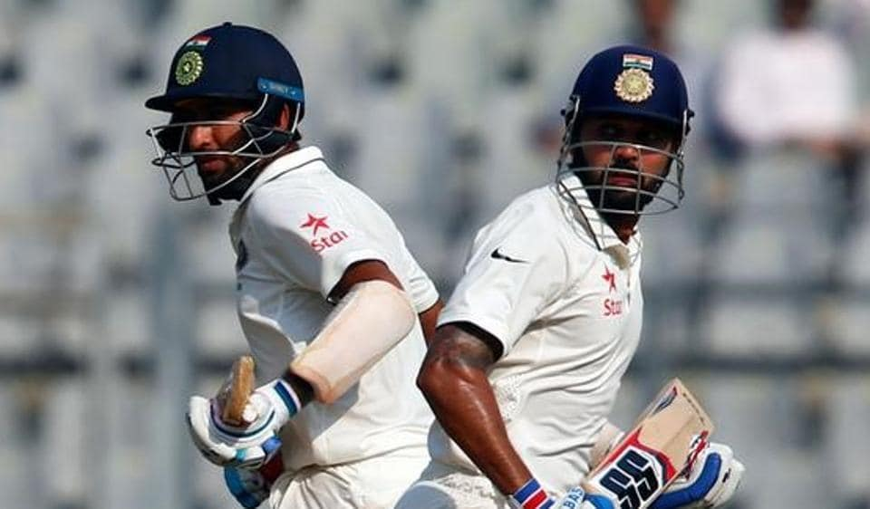 India's Murali Vijay (R) and Cheteshwar Pujara run between wickets during the fourth Test against England.