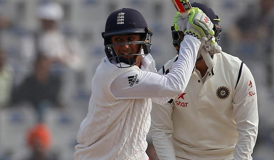 England's Haseeb Hameed plays a shot against India.